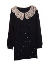 Black Lace Lapel Long Sleeve Embroidery Pearls Dress | #LucyMoran