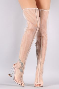 Mesh Peep Toe Chunky Perspex Heeled Over-The-Knee Boots