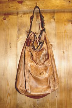 Large Beige Handmade Italian Leather Tote Bag