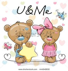 Two Cute Bears on a hearts background