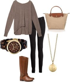 Grey sweater, beige longchamp, riding boots, black jeans, cute necklace, watch