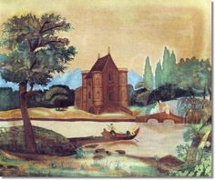 Unknown American Artist - American Folk Art Painting Landscape by Unknown Artist - River Landscape 1825 - 16 x 20 Approximate Original Size in Inches Painting