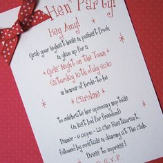 Hen Party Invites - Fifties-Inspired  Awesome idea!