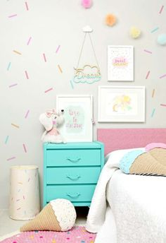 Sweet treat themed girl's room with washi tape wall decor