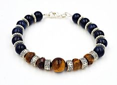 Tiger Eye Bracelet, Blue Tigers Eye, Mens Gift, #jewelry #bracelet @EtsyMktgTool #bluetigerseye #tigereyebracelet #mensgift #tigereyejewelry