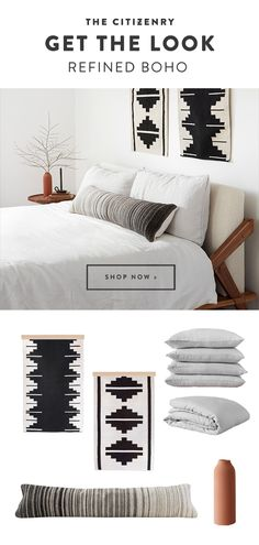 "THE LOOK // Refined Boho Eclectic, global designs, mixed with a hint of traditional. The art of ""all grown up"" bohemian style. White Bedroom, Master Bedroom, Grown Up Bedroom, Home Decor Styles, Diy Home Decor, Bohemian Bedroom Decor, D House, Minimalist Home, New Room"