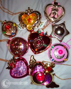 All of the Sailor Moon lockets! I have the large circular pink one with the cresent moon Sailor Moon Locket, Sailor Moon Crystal, Sailor Moon Merchandise, Anime Merchandise, Kawaii Jewelry, Cute Jewelry, Sailor Moon Aesthetic, Sailor Moon Manga, Magical Jewelry