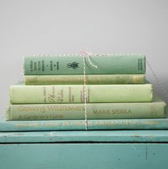 vintage green books.