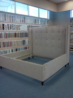 Beautiful hand crafted upholstered bed frame by the staff at Fabrics n' More at 2215 fm 1960, Houston