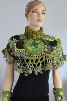 crochet capelet   Chunky Freeform Crochet Capelet with fingerless - Wearable Art