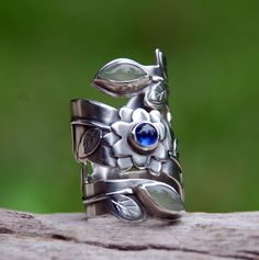 Ring | Spiral Stone Designs. 100% recycled sterling silver and blue kyanite.