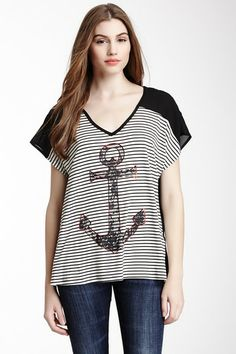Bobeau Lace Anchor Mixed Media Tee in Black/Ivory $24