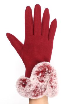 Touchscreen Gloves with Faux Fur Cuff - So soft! @ www.sunben.com - wholesale fashion accessories