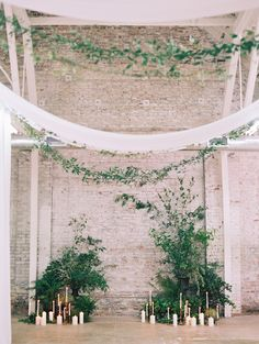 industrial exposed brick with soft greenery wedding ceremony decor Wedding Ceremony Ideas, Wedding Altars, Ceremony Backdrop, Wedding Trends, Trendy Wedding, Wedding Simple, Summer Wedding, Botanical Wedding, Floral Wedding