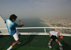 World's Highest Tennis Court. Federer and Agassi.