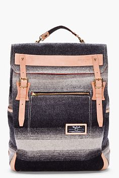 MASTER-PIECE Co gray striped Woolrich Backpack