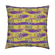 Catalan Throw Pillow featuring VINTAGE TIKI PSYCHEDELIC MEDITATION by paysmage | Roostery Home Decor