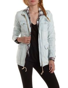 Lt Wash Denim Drawstring Chambray Utility Jacket by Charlotte Russe
