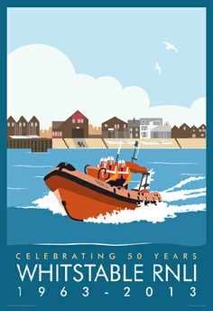 RNLI Poster drawn for the Whitstable station to celebrate their 50th. This is for sale on our web site www.whiteonesugar.co.uk