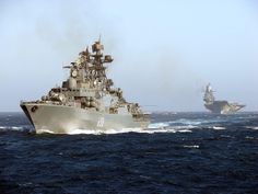 """Russian Navy - """"ADMIRAL CHABANENKO"""" is a (535') Udaloy Il Class Anti-Submarine Destroyer – Comm: 28 Jan 1999 – Crew: 300 Officers and Enlisted – Armament: 2 x 4 SS-N-22 """"SunBurn"""" Anti-Sub/Anti-Ship Missiles, 8 x 8 Vertical Launchers SA-N-9 """"Gauntlet"""" Missiles, 2 x SA-N-11 """"Kortik"""" Missiles, 2 AK-630 130mm Gun, 8 x 30mm AA Guns, 8 x 21 Inch (533mm) Torpedo Tubes or (RPK-2 Viyuga/SS-N-15) 2 x 10 Udav-1 Anti-Sub System and 2 x Ka-27 """"Helix"""" Helicopters - In Service with the Northern Fleet"""