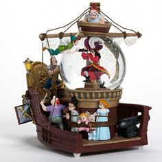 Disney Wendy John Michael Tinker Bell Captain Hook Peter Pan Musical Snowglobe