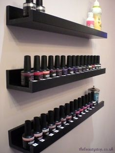 """Nail polish storage shelves from Home Depot. 36"""" or 24"""" floating picture shelves available in white or espresso. Contemporary storage solution for nail polish"""