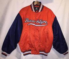 Vintage Brooklyn Starter Jacket Size XL Orange Blue Rare Throwback Coat #Starter #BrooklynDodgers