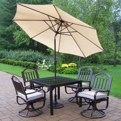 (CLICK IMAGE TWICE FOR PRICING AND INFO) #patioumbrellas #patio #umbrellas #patiofurniture SEE MORE patio umbrellas at ZPATIOFURNITURE.COM - Oakland Living Rochester Deluxe Patio Dining Set – Seats 4 Size-Color – Seats 4-Without Cushions – With Beige Umbrella « zPatioFurniture.com