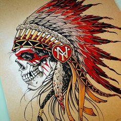 Native American Tattoos, Native Tattoos, Native American Headdress, Indian Tattoo Design, Skull Tattoo Design, Tattoo Sleeve Designs, Lion Head Tattoos, Feather Tattoos, Body Art Tattoos