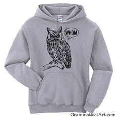 Hoodie Men Owl Shirt Grammar Shirt Who Whom Men's Shirt English Teacher Gift for Teachers Editor Cool Funny Hoodie Man Typography Hoodie by GrammaticalArt on Etsy