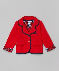 Another great find on #zulily! Lipstick Red French Terry Ruffle Blazer - Infant #zulilyfinds