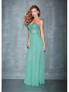 Alluring Sequin Lace & Chiffon Sweetheart Neckline Floor-length A-line Evening Dress Ball Dresses