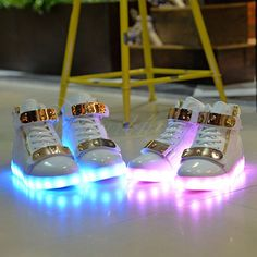 High Top LED Light Lace Up Unisex Sportswear Sneaker Luminous Shoes Casual White | eBay