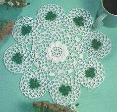 Irish Shamrocks Doily crochet PATTERN INSTRUCTIONS