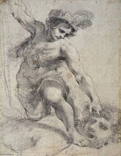 'David with the head of Goliath', Drawing by Guercino (Barbieri, Giovanni Francesco) Italy) Drawing Projects, Art Reproductions, Museum, Italy, Statue, Drawings, Baroque, Southern, Wrestling