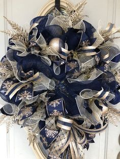 Excited to share this item from my shop: Christmas Wreath for Front Door, Blue and Champagne Christmas Wreath, Blue and Champagne Royal Blue Wreath, Blue and Gold Christmas Wreath Blue Christmas Tree Decorations, Christmas Wreaths For Front Door, Gold Christmas Tree, Elegant Christmas, Christmas Centerpieces, Christmas Colors, Holiday Wreaths, Christmas Ideas, Christmas 2019