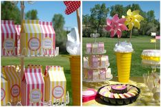 Pretty Pink Lemonade Party!  Love the colors and so easy to make these summer party decorations with Avery printables.