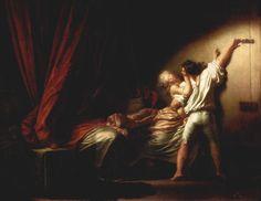 Fragonard, Le verrou, 1777, 1732-1806, peintre rococo français d'histoires, genre et paysages