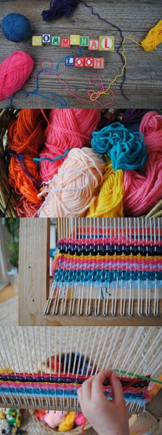 A wonderful community building, art making activity—starting a communal loom.