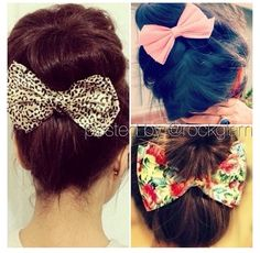 Bun and bow. So cute!