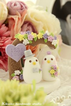 Custom Wedding Cake Topper Handmade love birds with by kikuike, $130.00 -- branch-out log + light-colored tux