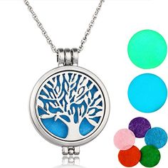"Essential Oils Diffuser Necklace Tree of Life Pendant 316L Stainless Steel Locket - Product Features: - Material: Premium hypo-allergenic 316L surgical grade stainless steel - Pendant diameter: 1.2""/3cm and weigh 0.6oz/18g, chain length: 24""/60cm and weighs 0.5oz/15g -Color: Unfading Nature steel color - 5pcs washable refill pads  - One year NO Questions asked warranty GUAR..."