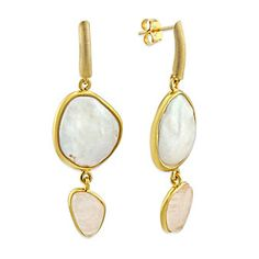 Sterling Silver and Yellow Tone Freshwater Cultured Pearl and Morganite Drop Earrings from Borsheims for $120.