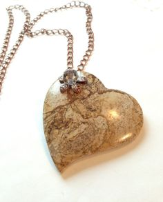 Brown Crazy Lace Jasper Heart Necklace OOAK Gemstone Fashion Jewelry Gift for Her -Etsy