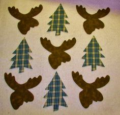 Set of 9  Moose Head and Pine Tree Iron-on/Sew-on by MarsyesShoppe