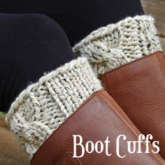 Brome Fields Boot Cuff Knitting Pattern - One Size - Beginner Skill Level - Super Bulky Yarn - US 11 Knitting Needles - Cable Knit Stitch - Knit in the Round - Knit Flat Cable Knitting, Knitting Videos, Knitting Stitches, Knitting Projects, Knitting Patterns, Crochet Boot Cuffs, Crochet Boots, Knit Crochet, Knitting Abbreviations