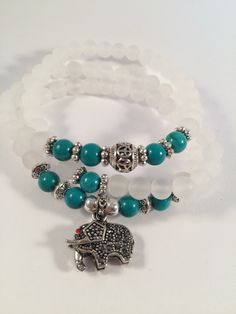 Bracelet/Necklace made with Natural Matte White Agate Crystal and Jade Beads With Tibetan Silver Elephant by Buddhafy Me inspirational Jewelry