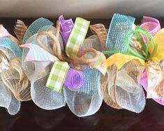 Your place to buy and sell all things handmade Fireplace Garland, Fireplace Decorations, Easter Garland, Easter Decor, Deco Mesh Garland, Easter Messages, Spring Art Projects, Flip Flop Wreaths, Printed Ribbon