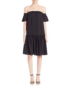 MILLY Shirred Off-The-Shoulder Dress - Black - Size