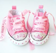 Baby Bling Infant Crystal Princess Tiara PERSONALIZED Chuck Taylor Pink Infant Converse Sneakers